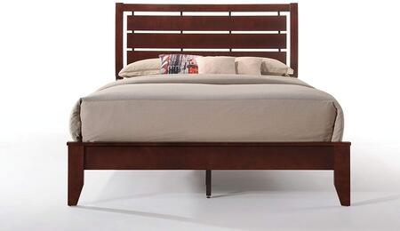 Ilana Collection 20400Q Queen Size Bed with Slatted Horizontal Headboard  Tapered Legs  Rubberwood and Okume Veneer Materials in Brown Cherry