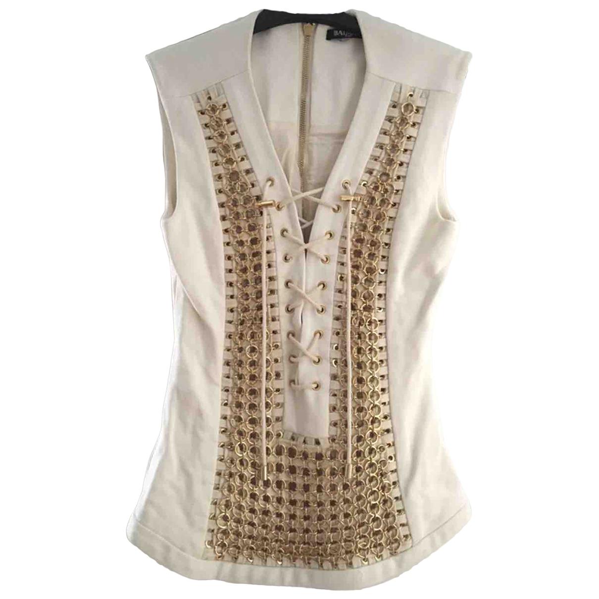 Balmain - Top   pour femme en coton - blanc