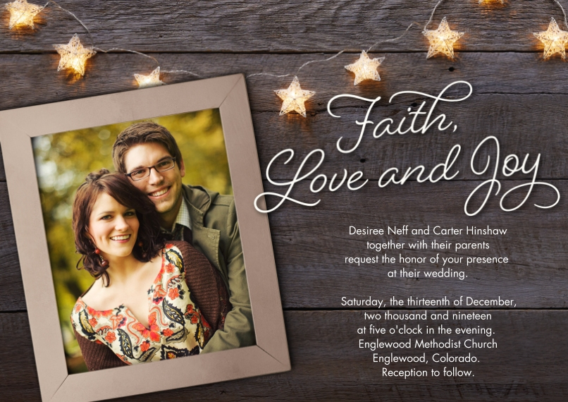 Wedding Invitations Flat Glossy Photo Paper Cards with Envelopes, 5x7, Card & Stationery -Rustic Faith, Love & Joy Invitation by Hallmark