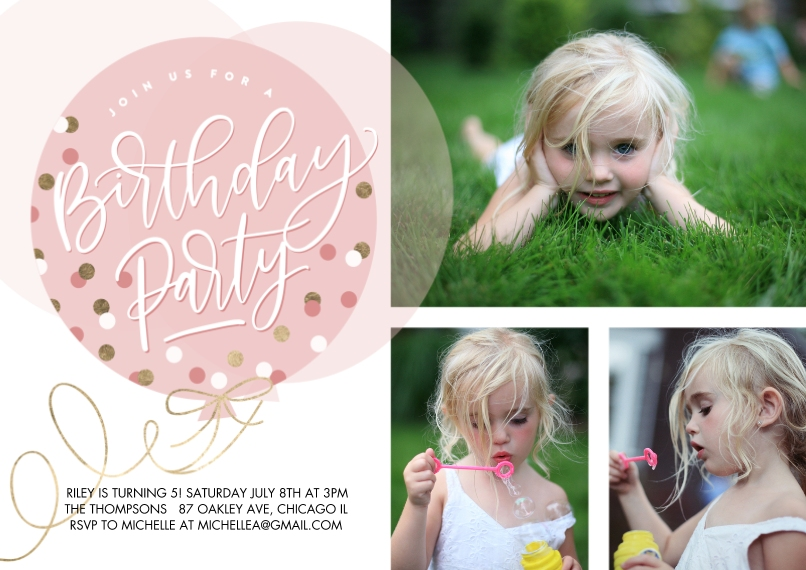 Kids Birthday Party Flat Matte Photo Paper Cards with Envelopes, 5x7, Card & Stationery -Birthday Party Dots Balloon by Tumbalina (5x7)