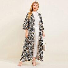Plus Zebra Striped and Chain Print Longline Kimono