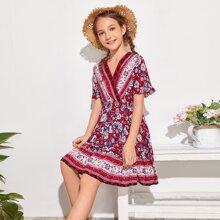 Girls Ruffle Hem Tribal & Floral Print Dress