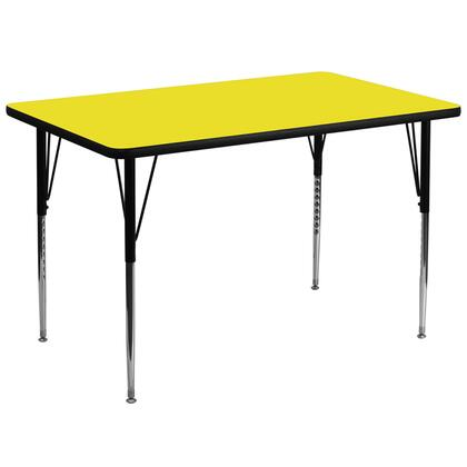 XU-A3672-REC-YEL-H-A-GG 36''W x 72''L Rectangular Activity Table with 1.25'' Thick High Pressure Yellow Laminate Top and Standard Height Adjustable