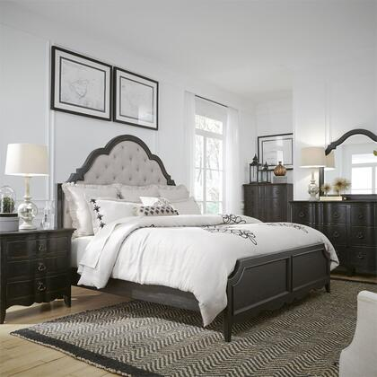 Liberty Furniture 493-BR-QUBDMN 4 Piece Bedroom Set with Queen Size Upholstered Bed  Dresser and Mirror  Nightstand in Wire Brushed Antique Black