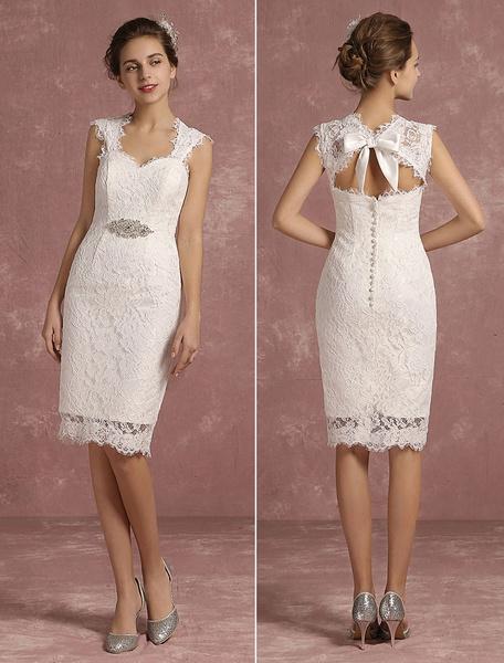 Milanoo Summer Wedding Dresses 2020 Short Lace Sweetheart Sheath Bridal Gown Queen Anne Neck Sleeveless Beaded Bow Keyhoke Knee Length Bridal Dress