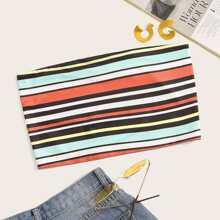 Color-stripe Print Tube Top