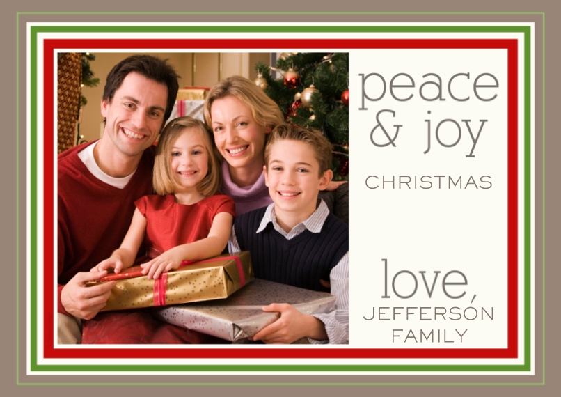 Holiday Photo Cards 5x7 Cards, Premium Cardstock 120lb with Rounded Corners, Card & Stationery -peace & joy