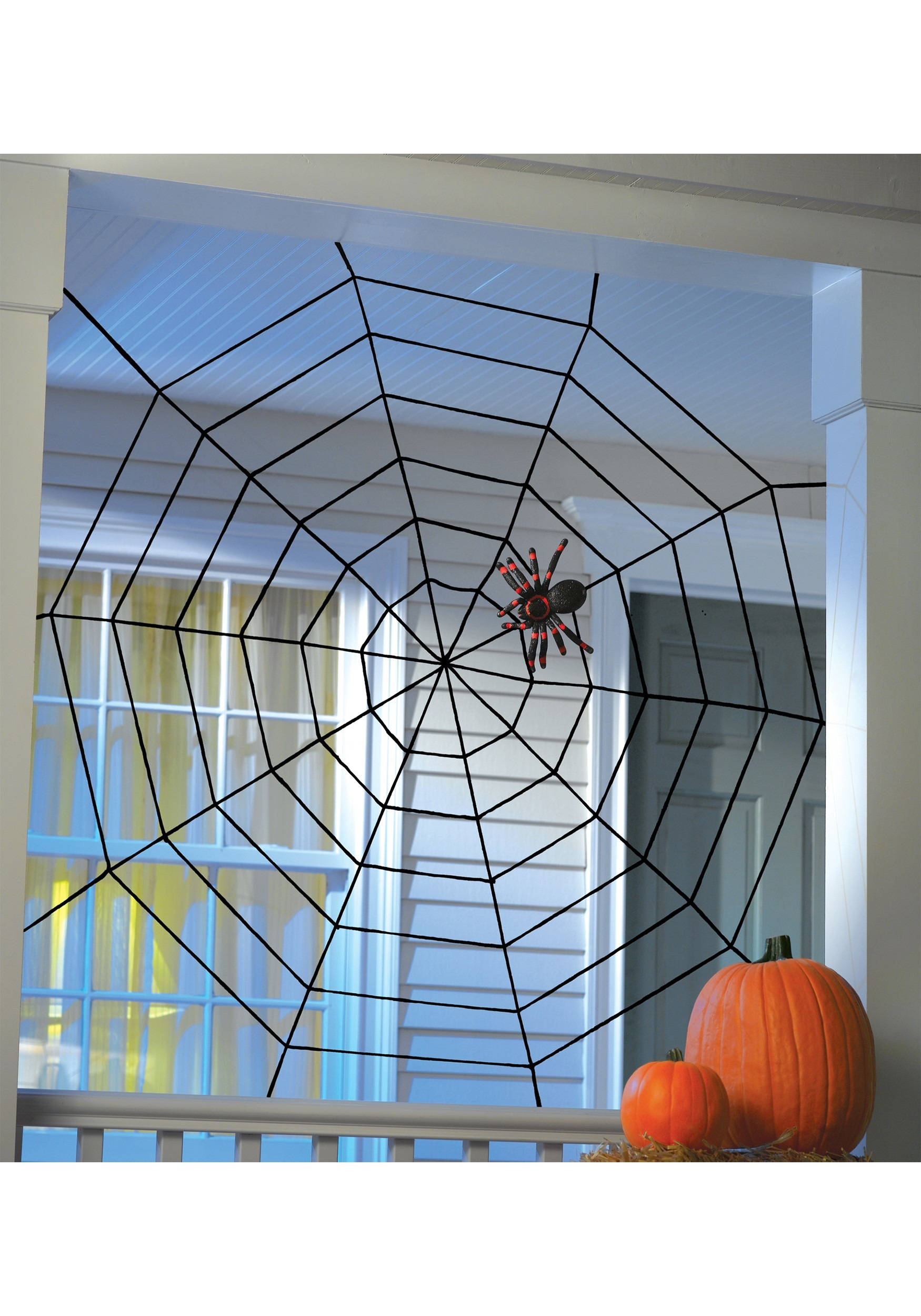 5' Black Widow Rope Web Decoration