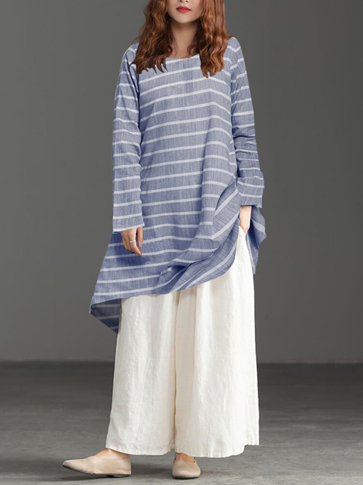 Striped Print Front and Back Wearable Loose Plus Size Long Shirt
