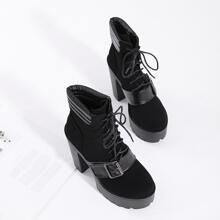 Lace-up Front Buckle Decor Chunky Heeled Boots