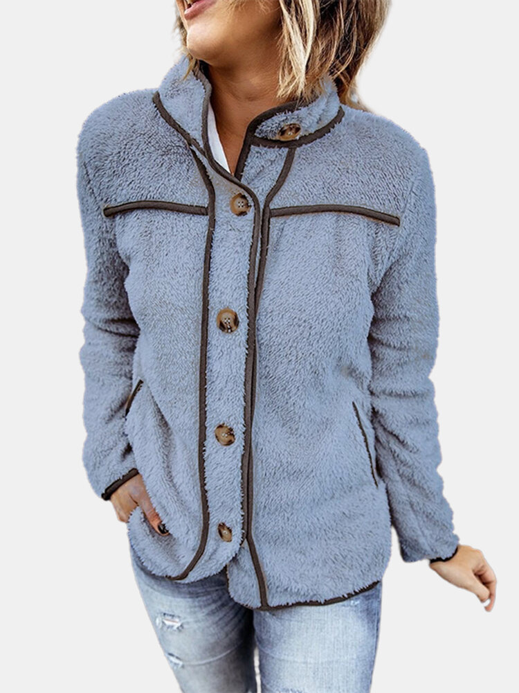Patchwork Plush Long Sleeve Solid Color Casual Jacket For Women