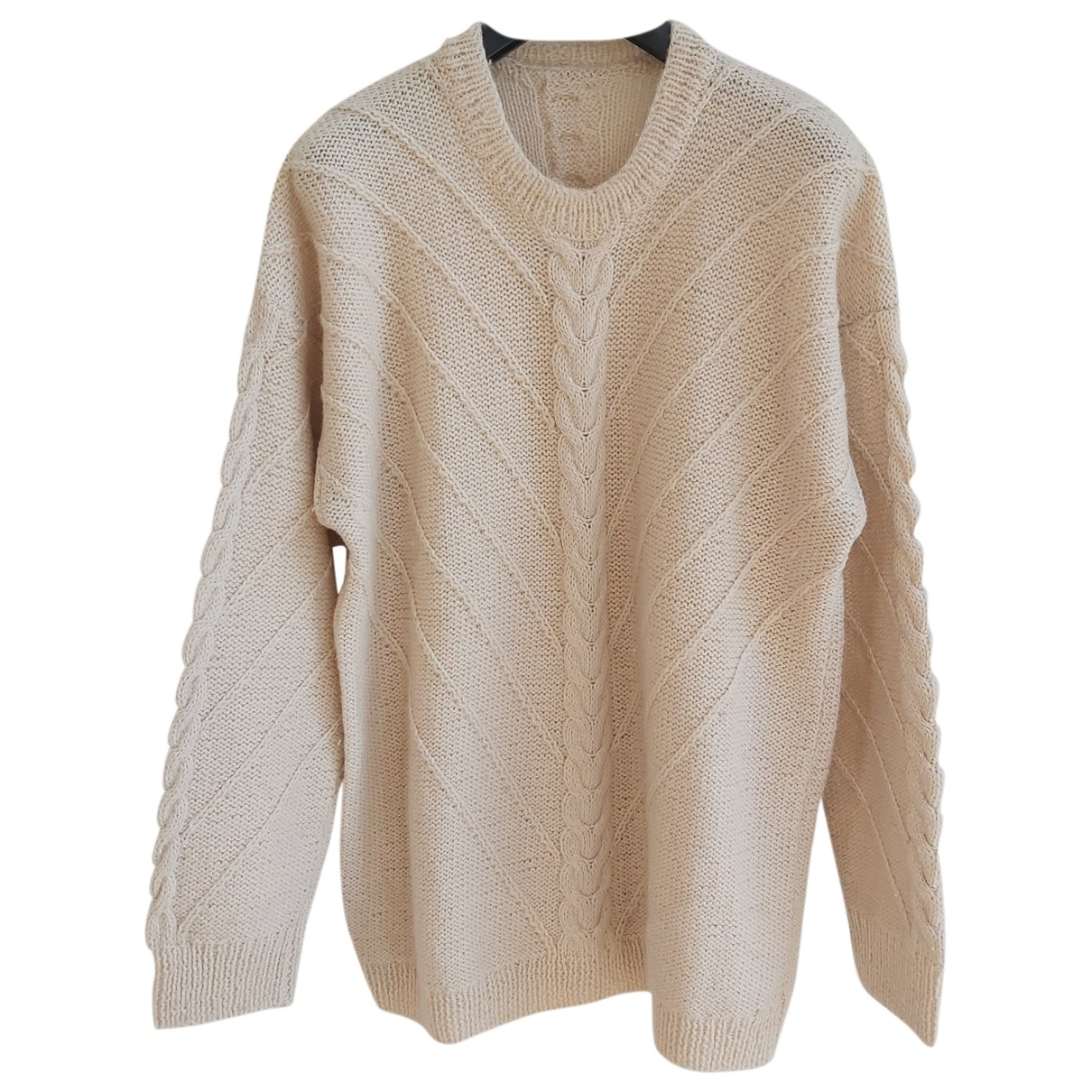 Non Signe / Unsigned Oversize Pullover in  Beige Wolle