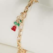 Armband mit Blumen Anhaenger und Kette