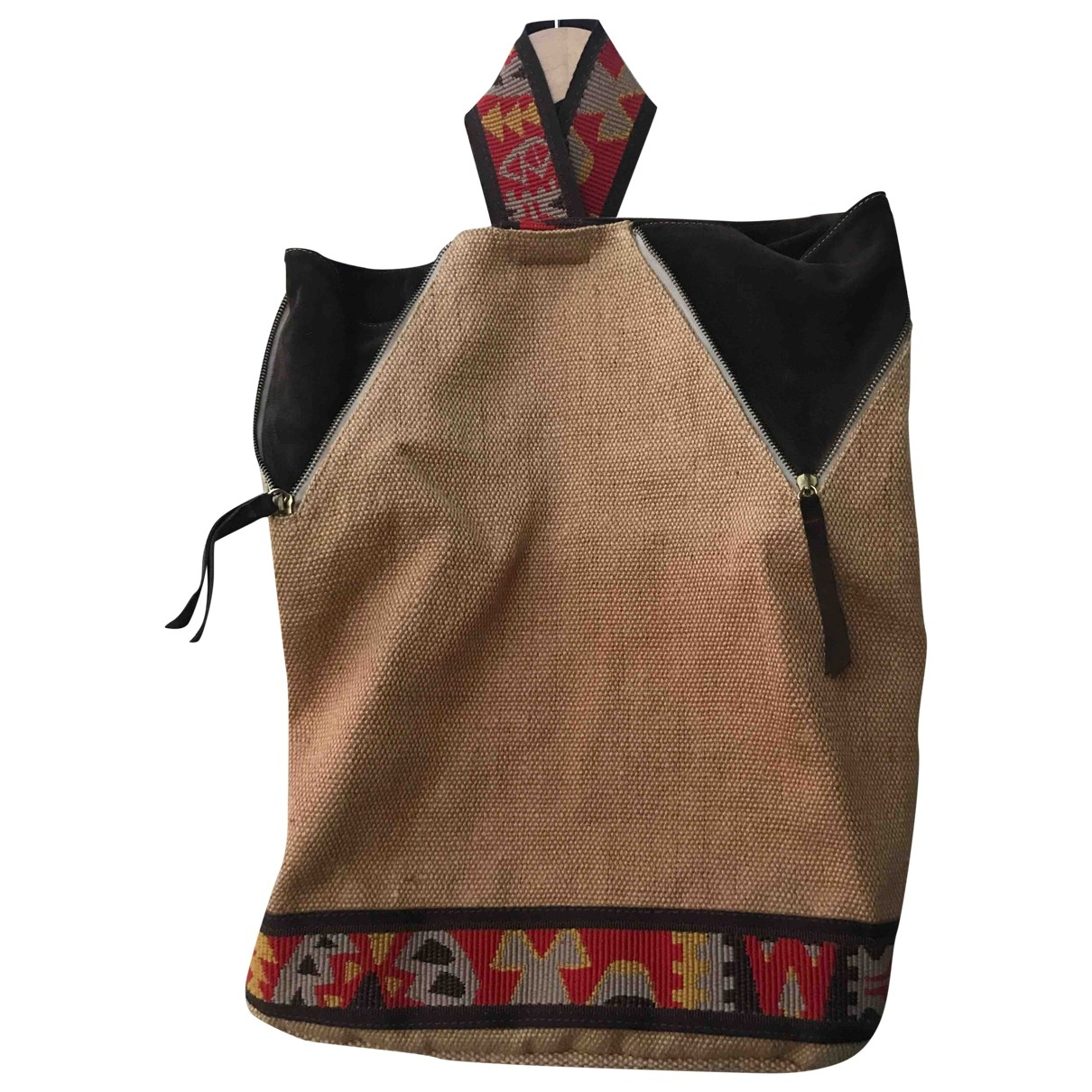 Non Signé / Unsigned Hippie Chic Beige Suede backpack for Women \N