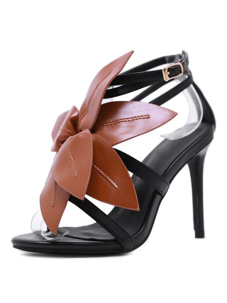 Milanoo High Heel Sandals Womens Flower Decorated Open Toe Stiletto Heel Sandals