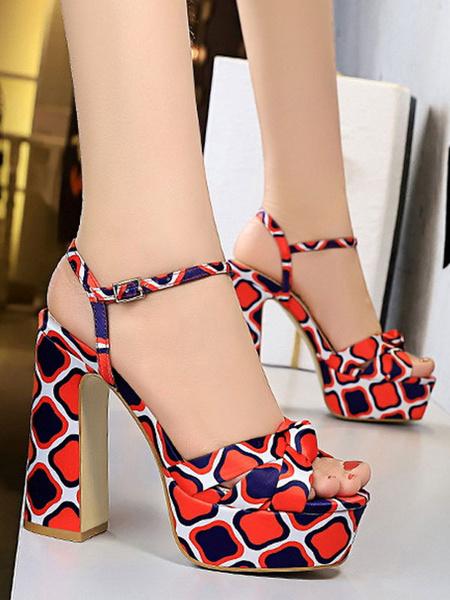 Milanoo Chunky High Heel Sexy Sandals Red Satin Round Toe Wide Platform Sexy Sandals