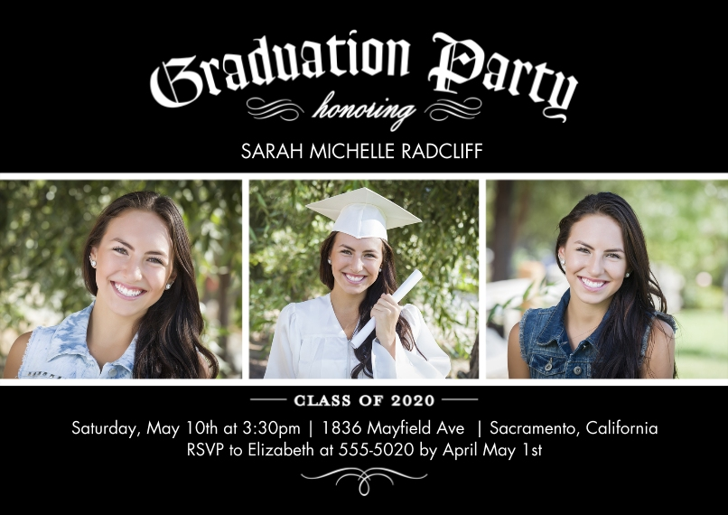 2020 Graduation Invitations 5x7 Cards, Premium Cardstock 120lb with Scalloped Corners, Card & Stationery -Graduation 2020 Invite by Tumbalina