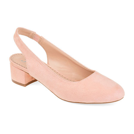 Journee Collection Womens Zippy Pumps Slip-on Pointed Toe Block Heel, 9 Medium, Pink