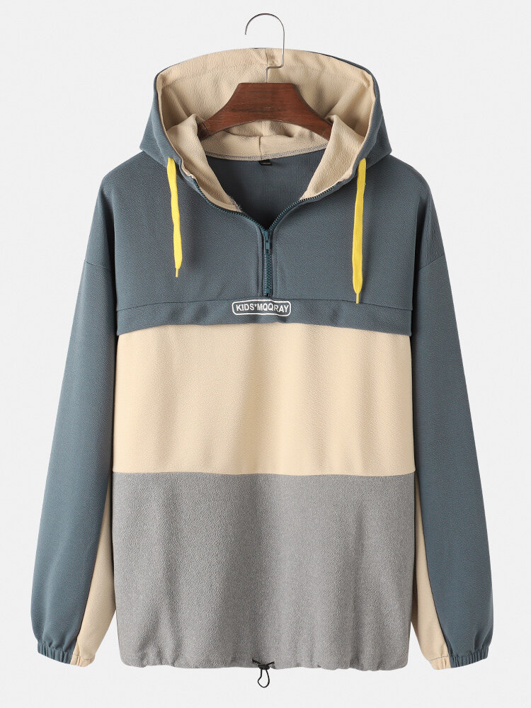 Mens Colorblock Cotton Half Zipper Front Drawstring Hem Loose Casual Long Sleeve Hoodies