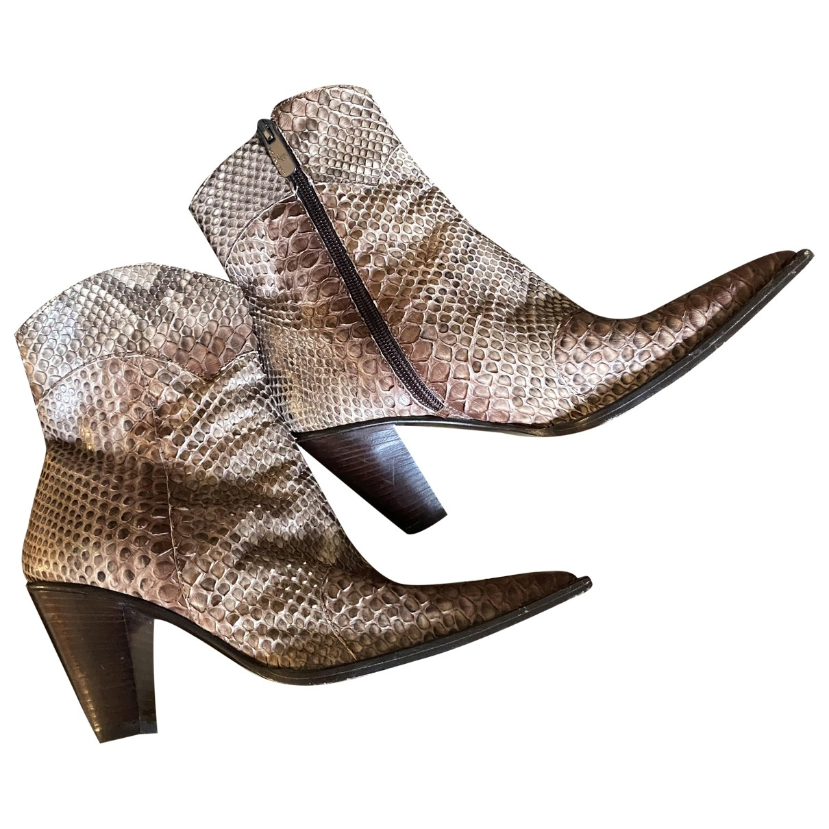 Non Signé / Unsigned \N Multicolour Leather Ankle boots for Women 36 EU