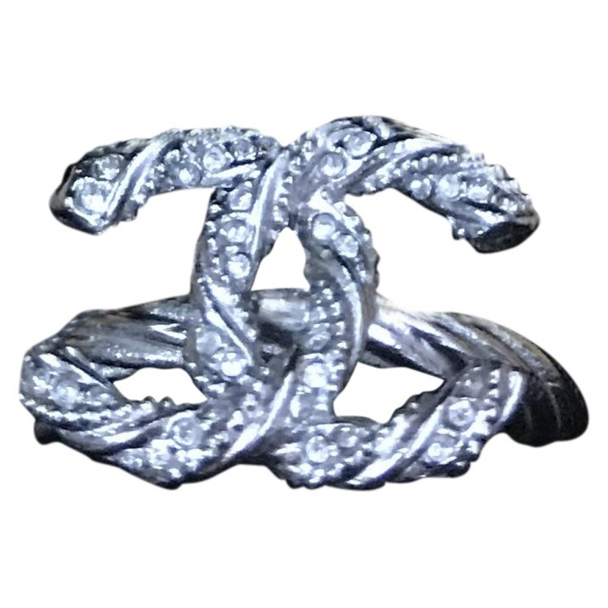 Chanel - Bague CC pour femme en metal - argente
