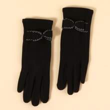 1 Paar Touchscreen-Handschuhe mit Schleife Dekor