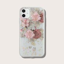 Transparente iPhone Huelle mit Goldfolie Dekor und Blumen Muster