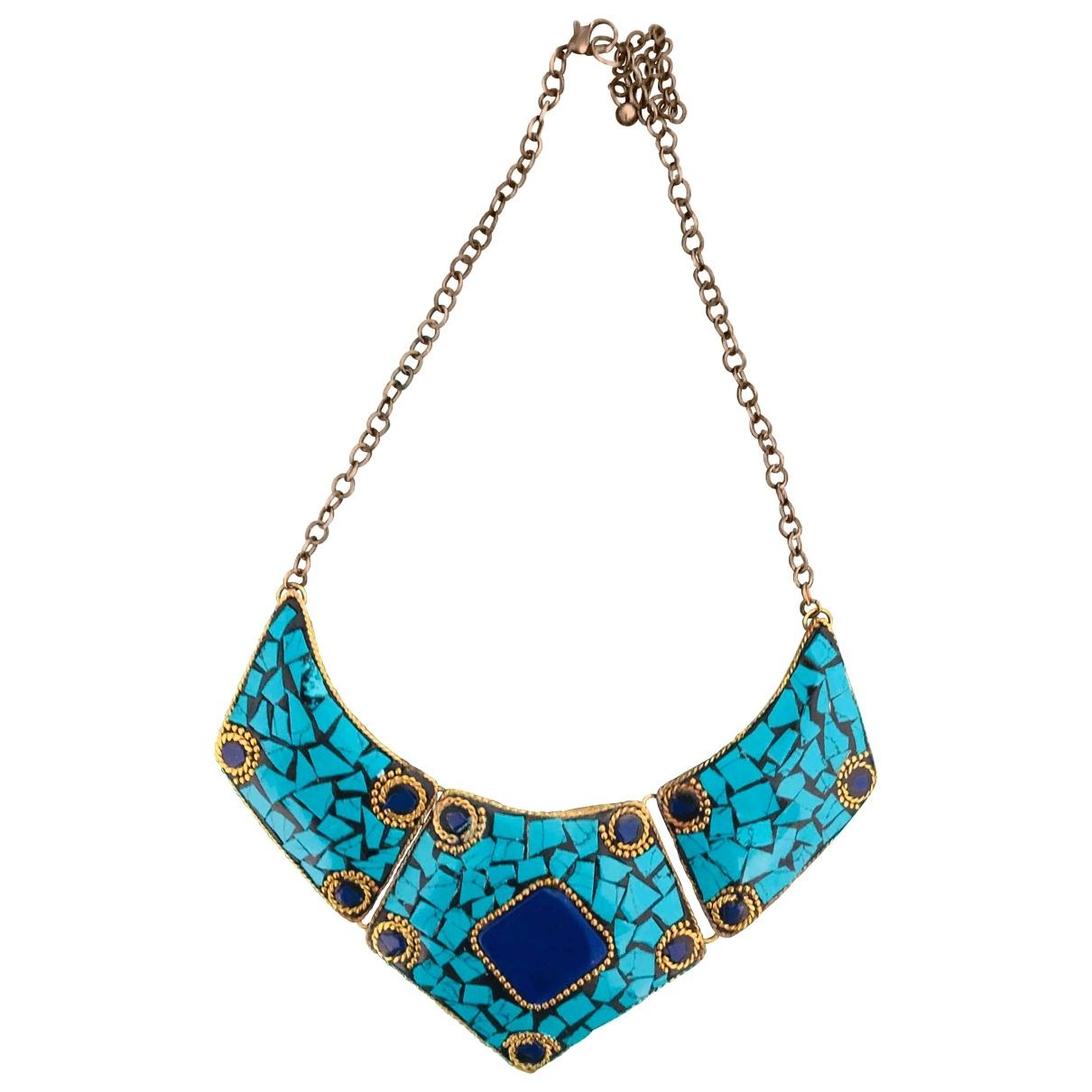 - Collier Lapis lazuli pour femme en metal - bleu