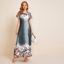 Verschiedenfarbig Gebluemt  Elegant Kleider