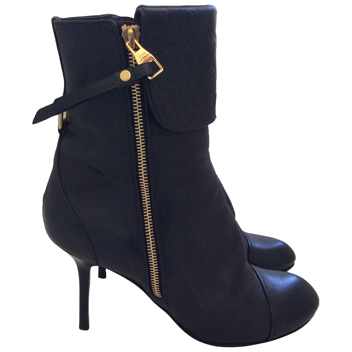 Louis Vuitton \N Navy Leather Ankle boots for Women 39 EU