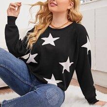 Pullover mit Stern Muster und Raglanaermeln