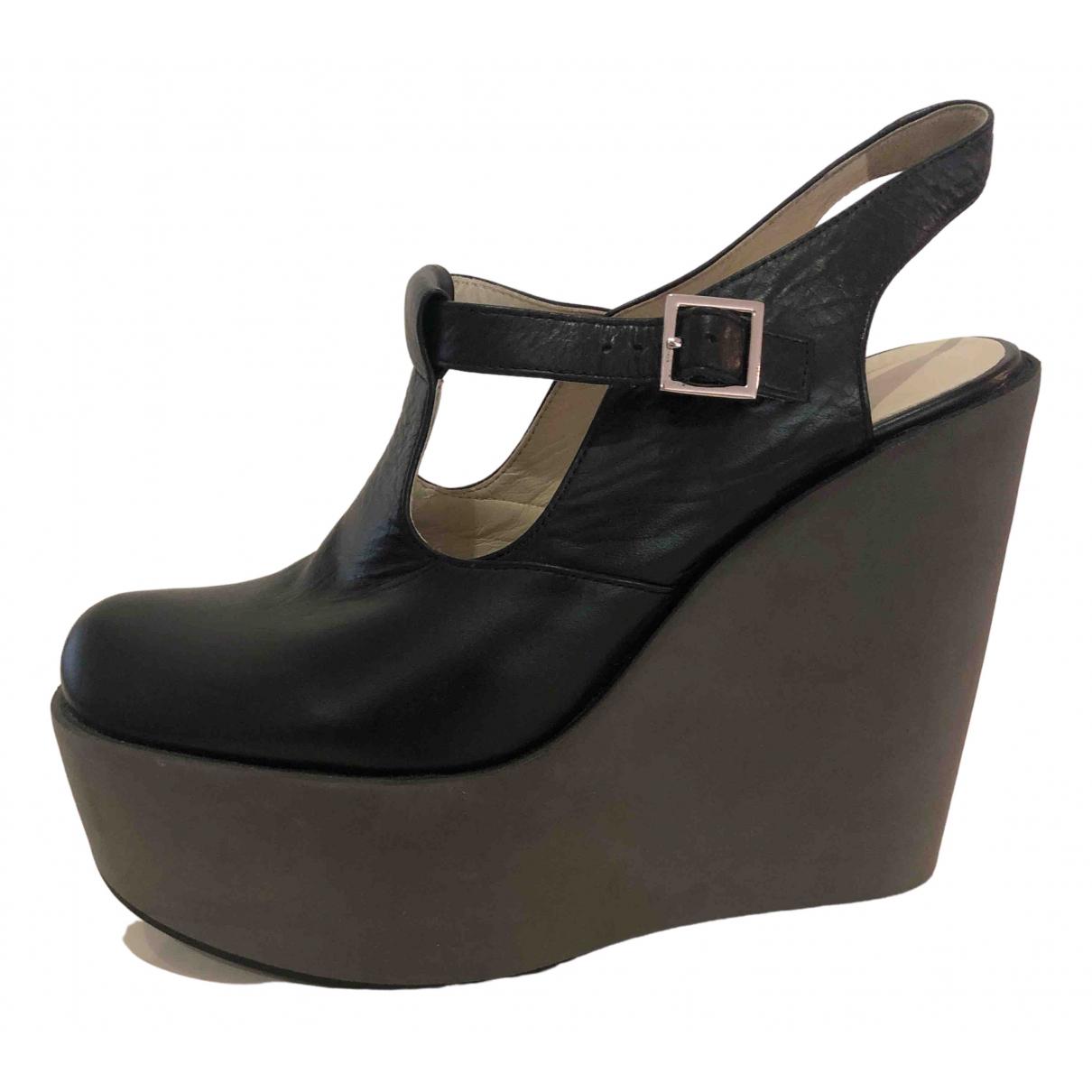 Jil Sander \N Black Leather Heels for Women 40 EU