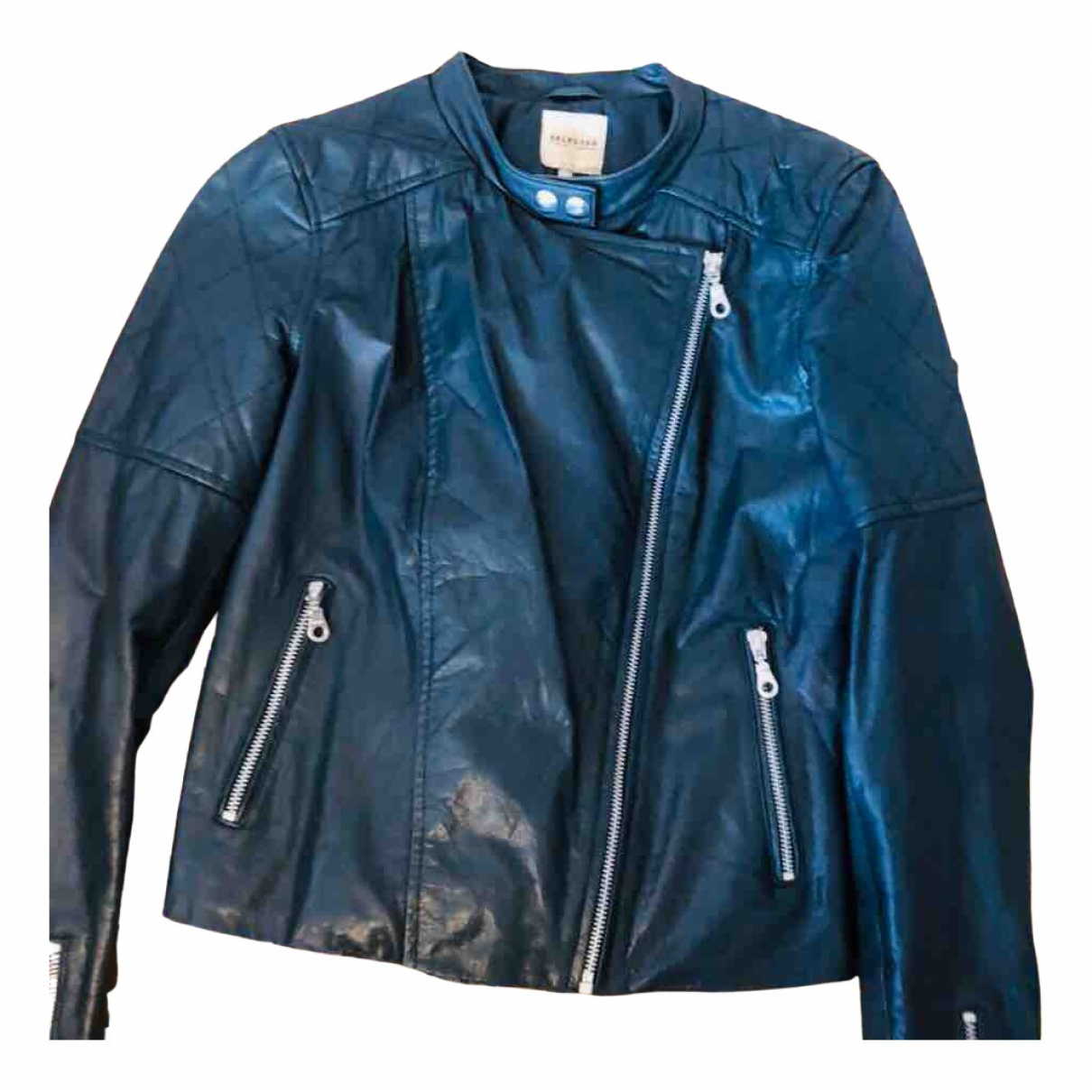 Selected N Green Leather jacket for Women 34 FR