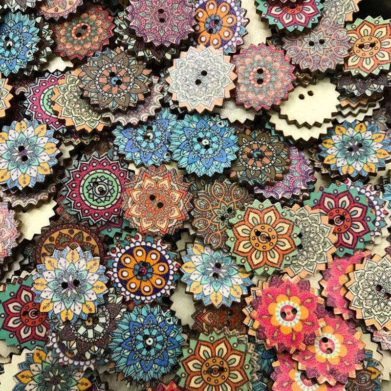 100 pcs Retro Style Sun Flower Bohemian Buttons Classical Pattern Cartoon Wooden Decorative Buttons