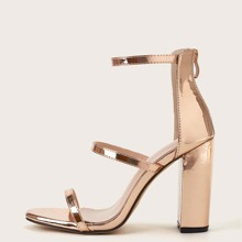 Metallic Ankle Strap Chunky Heeled Sandals