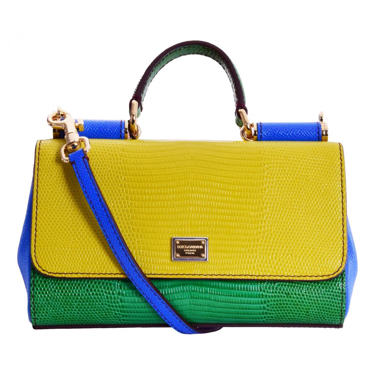 Dolce & Gabbana Sicily Handtasche in  Gelb Leder