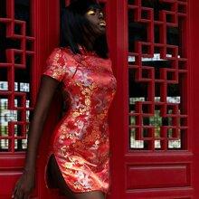 Rueckenfreies Qipao Kleid mit Drache Muster und Band