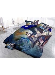 Superb Space Station and Planet Wear-resistant Breathable High Quality 60s Cotton 4-Piece 3D Bedding Sets