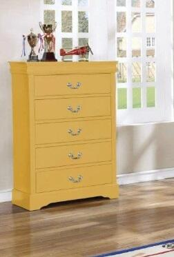 Ryder Collection LP500-CH Chest with 5 Drawers and Metal Center Glides in Yellow