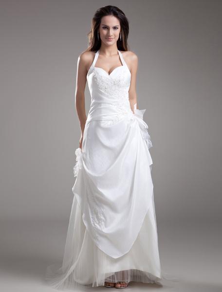 Milanoo White A-line Halter Bow Embroidered Taffeta Bridal Wedding Dress