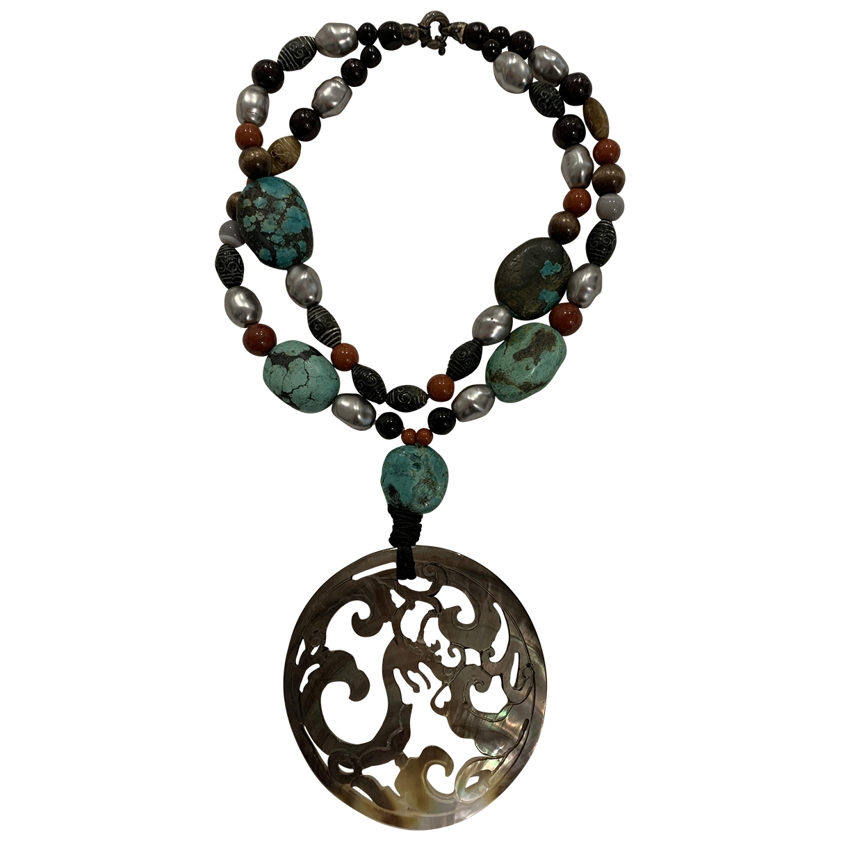 Non Signe / Unsigned Turquoises Kette in  Bunt Keramik