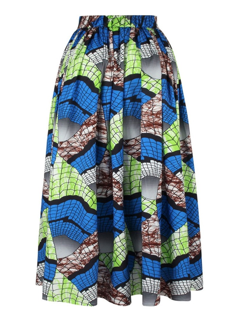 Ericdress Fashion Print Pleated Ankle-Length Skirt