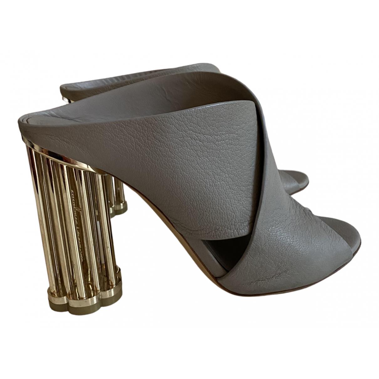 Salvatore Ferragamo N Grey Leather Sandals for Women 40 IT