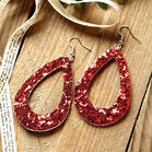 Hollow Out Dual-Sided Sequined PU Leather Earrings