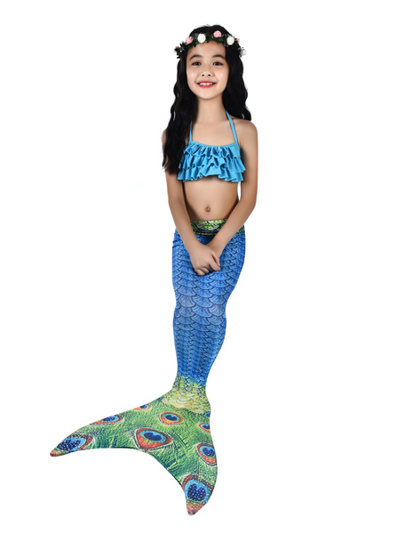 Milanoo Kids Mermaid Costume Blue Halloween Fishtail Swimsuits 2 Piece