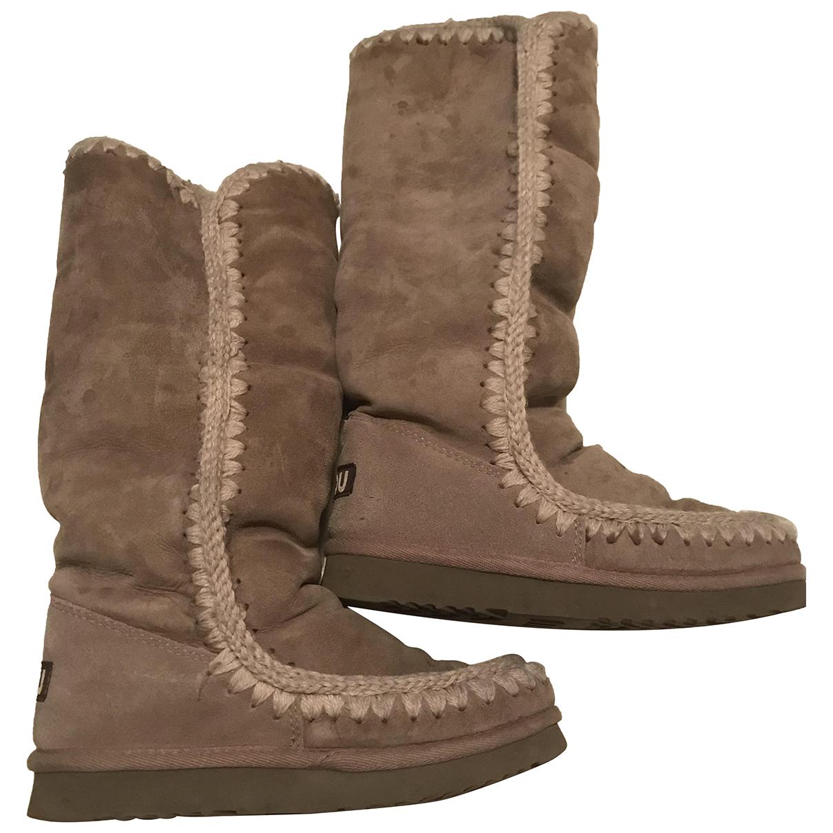Mou N Grey Fur Boots for Women 37 EU