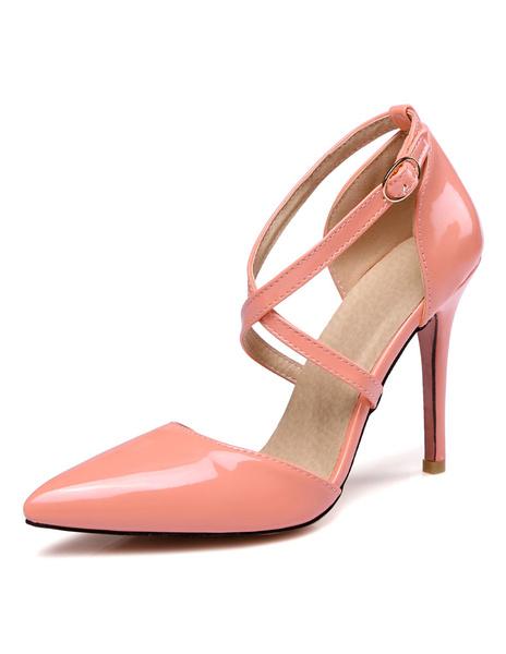 Milanoo Women's High Heels Yellow Pointed Toe Criss Cross Strap Adjustable Stiletto Heel Shoes