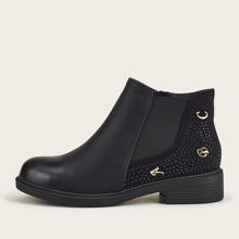 Studded & Letter Decor Chelsea Boots