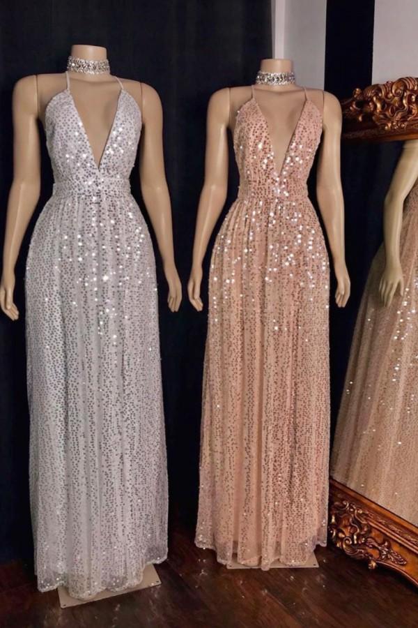 Spaghetti V-neck Polka Sequins Tulle Floor Length Mermaid Prom Dresses