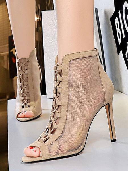Milanoo Apricot Summer Boots Round Toe Heel Adjustable Strap Summer Boots